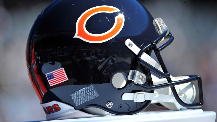A Bears helmet sits on the sidelines during a Bears game at Soldier Field