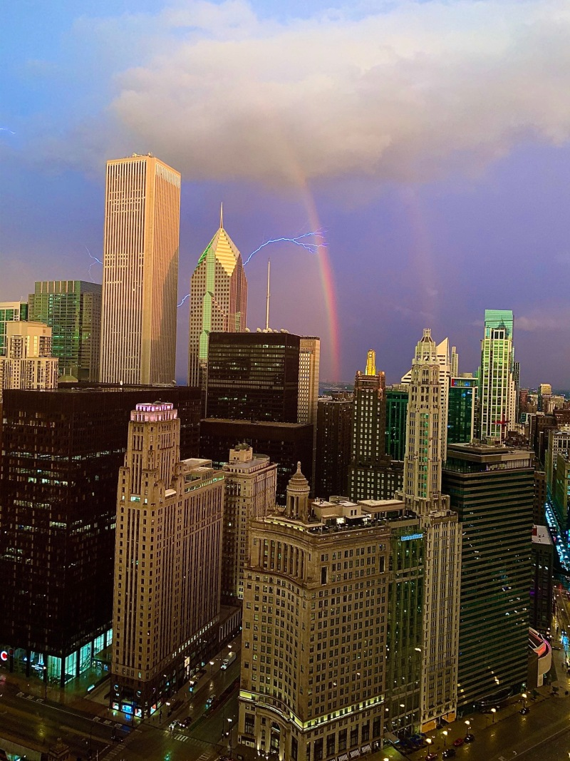 Stunning Images Capture Rainbows Over Chicago After Evening of Severe Storms
