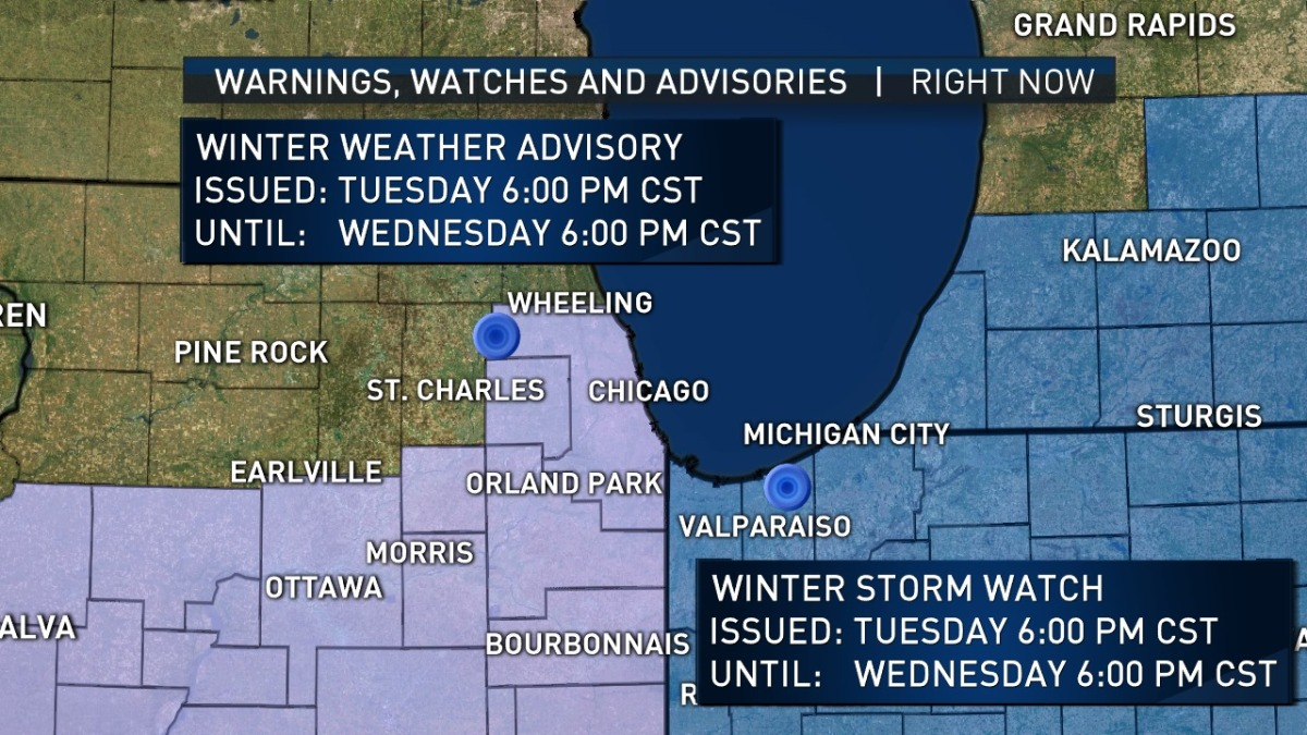 Chicago Area Likely To See Several Inches Of Snow Starting Tuesday Nbc Chicago
