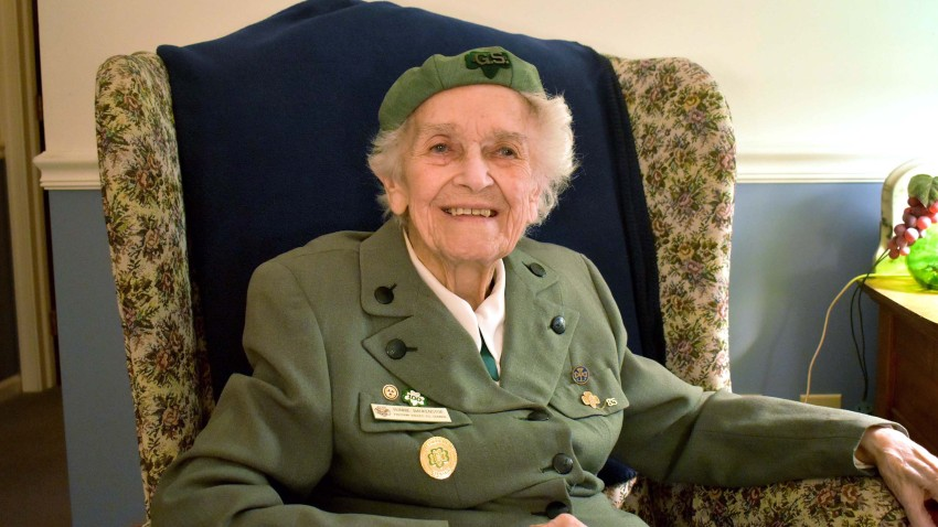 Ronnie Backenstoe, above, has been selling Girl Scout cookies since 1932.