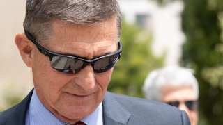In this June 24, 2019, file photo, former Trump national security adviser Michael Flynn leaves the federal courthouse in Washington.