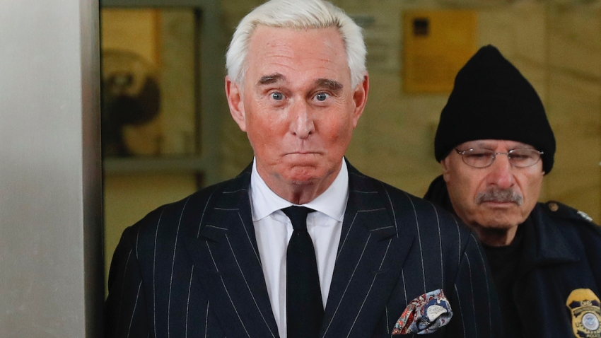 Former campaign adviser for President Donald Trump, Roger Stone, leaves federal court in Washington.