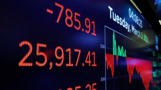 A board above the trading floor of the New York Stock Exchange shows the closing number for the Dow Jones Industrial Average, March 3, 2020. The Federal Reserve slashed their benchmark interest rate on Sunday to try to blunt the damage the coronavirus outbreak has have on the U.S. economy.