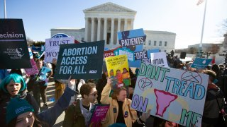 Abortion rights demonstrators along with Anti-abortion demonstrators rally outside of the U.S. Supreme Court in Washington