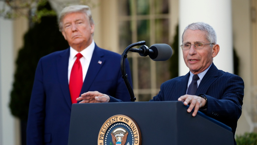 Dr. Anthony Fauci and Donald Trump at the podium during a coronavirus task force briefing