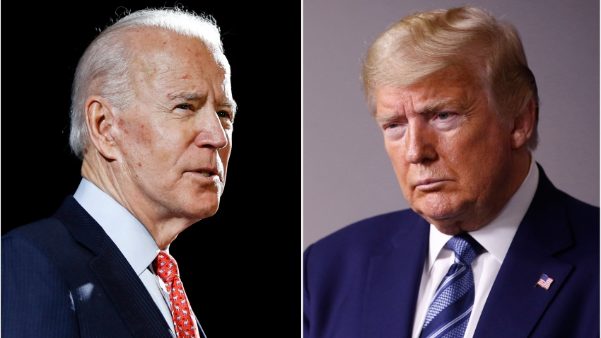 In this combination of file photos, former Vice President Joe Biden speaks in Wilmington, Del., on March 12, 2020, left, and President Donald Trump speaks at the White House in Washington on April 5, 2020.