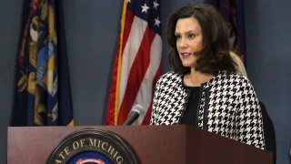 In this April 20, 2020, file photo, provided by the Michigan Office of the Governor, Michigan Gov. Gretchen Whitmer addresses the state in Lansing, Michigan.