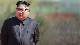 In this April 13, 2017, file photo, North Korean leader Kim Jong Un arrives for the official opening of the Ryomyong residential area, a collection of more than a dozen apartment buildings, in Pyongyang, North Korea.