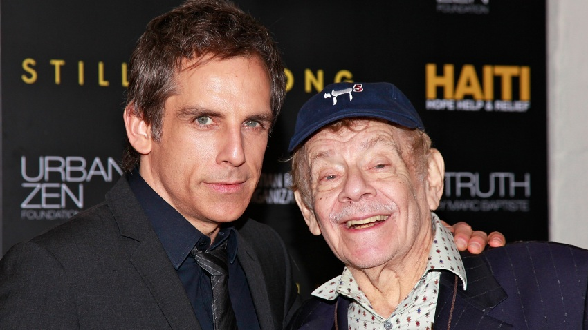 In this Feb. 11, 2011, file photo, actors Ben Stiller and Jerry Stiller arrive at the HELP HAITI - Urban Zen HHRH & The Stiller Foundation Honoring Sean Penn at the Urban Zen Center At Stephan Weiss Studio in New York City.