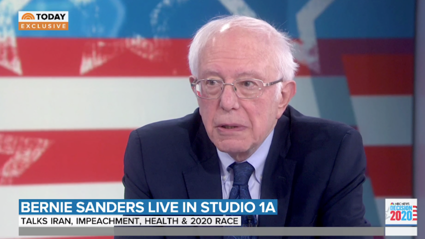 """In an exclusive interview with NBC's """"TODAY,"""" Sen. Bernie Sanders cast doubt on President Donald Trump's claims that a top Iranian general was planning imminent attacks on U.S. embassies in the Middle East."""