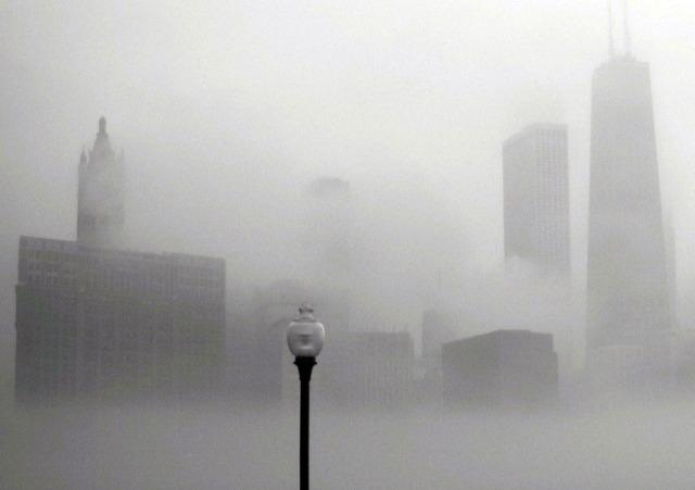 Chicago-Illinois-USA-skyline-fog