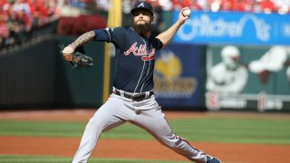 Dallas Keuchel #60 of the Atlanta Braves delivers the pitch against the St. Louis Cardinals during the first inning in game four of the National League Division Series at Busch Stadium on October 07, 2019 in St Louis, Missouri.