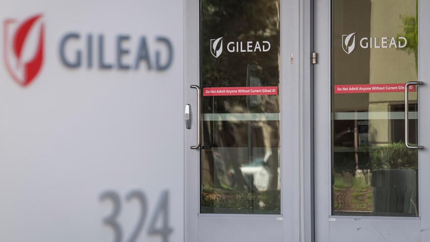 Signs display the company logo at the headquarters of Gilead Sciences Inc., in Foster City, California, March 19, 2020.