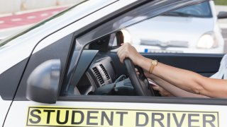 Woman Learning Car Driving