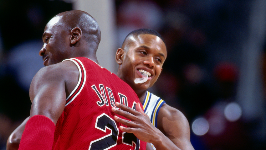 NBA players Michael Jordan and B.J. Armstrong