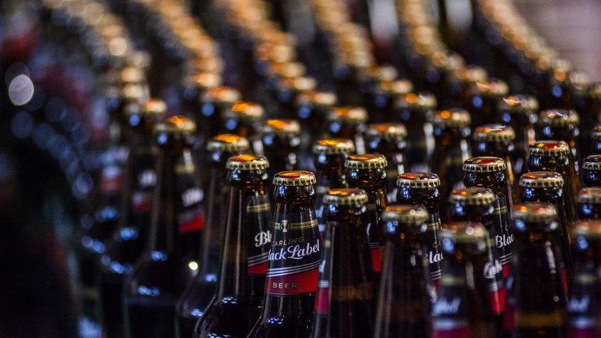 Capped and labelled bottles of Carling Black Label beer