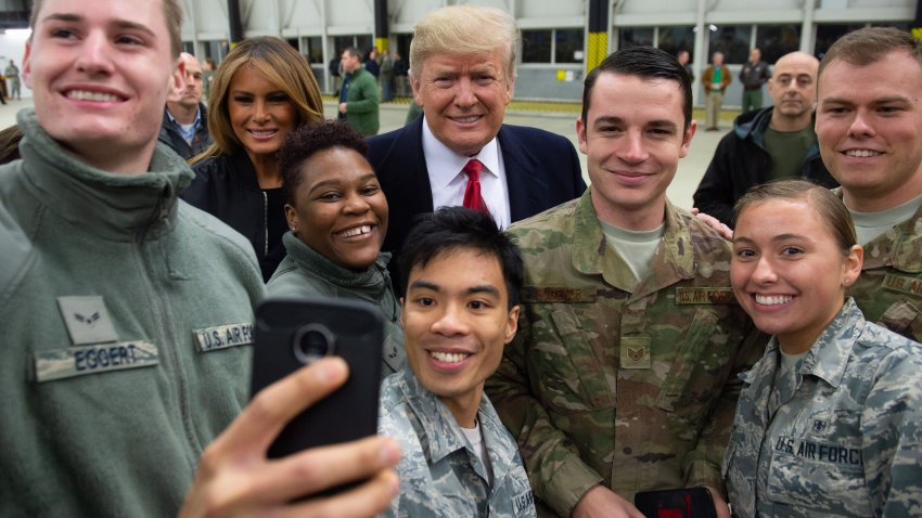 Donald and Melania Trump greet US military in Germany