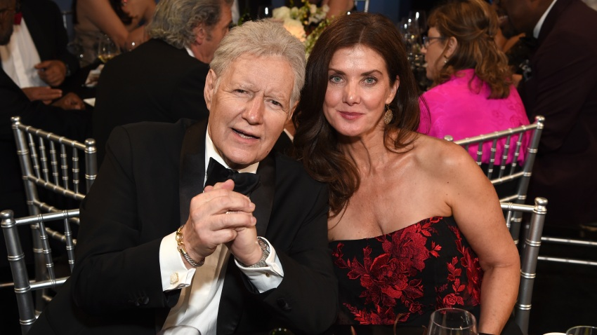 In this June 6, 2019, file photo, Alex Trebek and Jean Currivan Trebek attend the 47th AFI Life Achievement Award honoring Denzel Washington at Dolby Theatre in Hollywood, California.