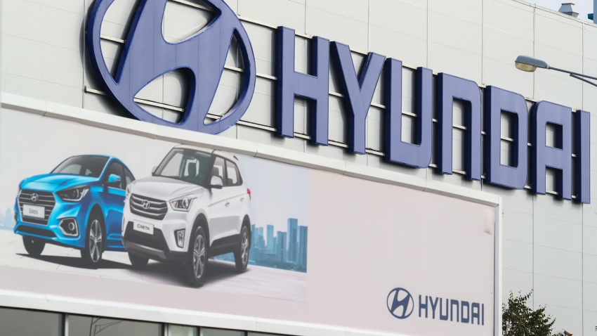 The Hyundai Motor Manufacturing car factory, in the Kamenka industrial area, Saint Petersburg, Russia.