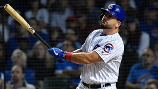 Kyle Schwarber hits a home run against the Cincinnati Reds on September 16th