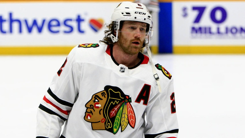 Chicago Blackhawks defenseman Duncan Keith skates in a game against the Nashville Predators on November 16th.
