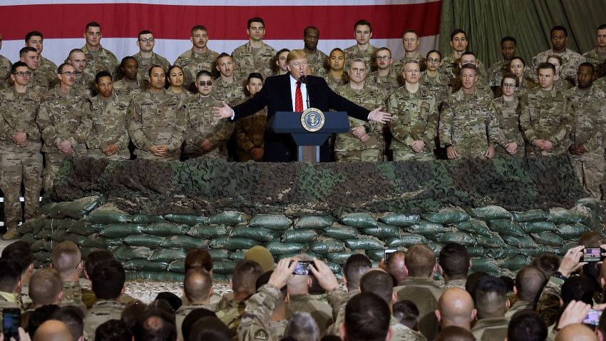 Donald Trump speaks to the troops during a surprise Thanksgiving day visit at Bagram Air Field in Afghanistan