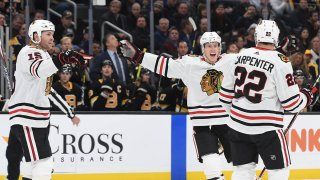 The Blackhawks celebrate a goal against the Boston Bruins in a December 5th game.