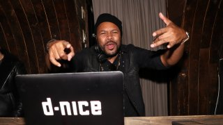 DJ D-Nice spins at the Def Jam Christmas Party