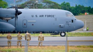 A US Air Force plane is pictured in Tolemaida, Colombia, on January 26, 2020.