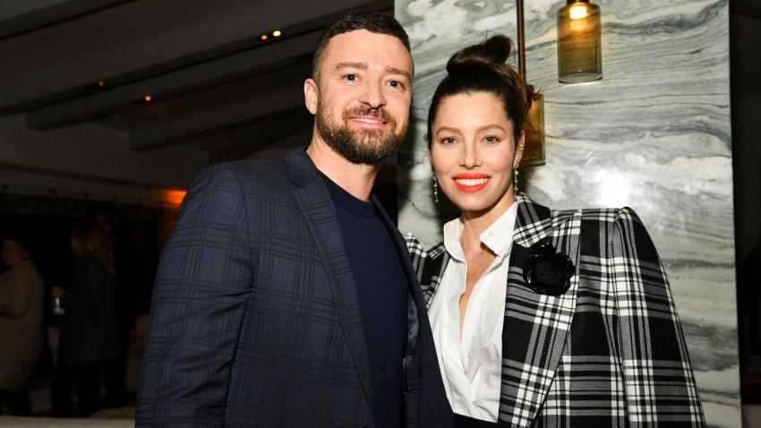 (L-R) Justin Timberlake and Jessica Biel