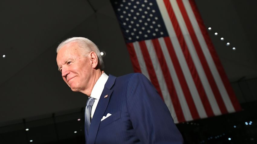 In this file photo, Democratic presidential hopeful former Vice President Joe Biden walks out after speaking at the National Constitution Center in Philadelphia, Pennsylvania on March 10, 2020.
