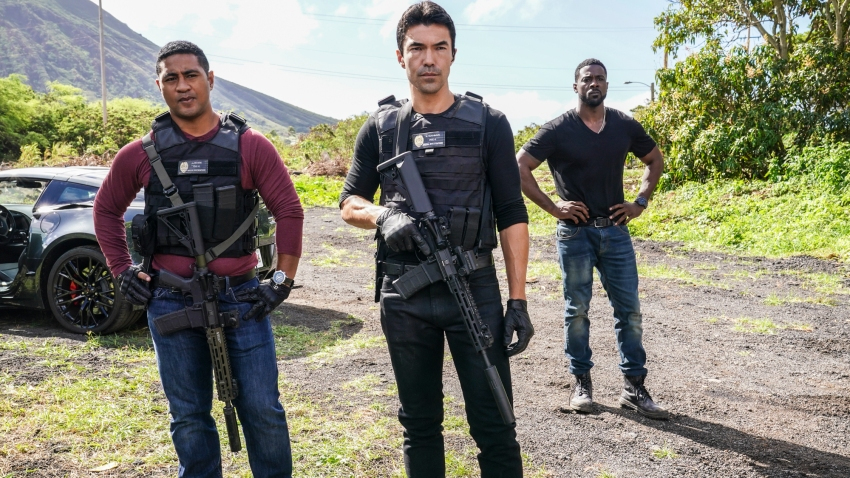 Beulah Koale, left, as Junior Reigns; Ian Anthony Dale, center, as Adam Noshimuri and Lance Gross, right, as Lincoln Cole