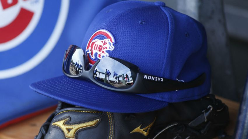 A Cubs hat sits on a bench at the team's spring training facility in Arizona