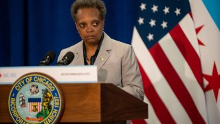 Chicago Mayor Lori Lightfoot speaks at City Hall