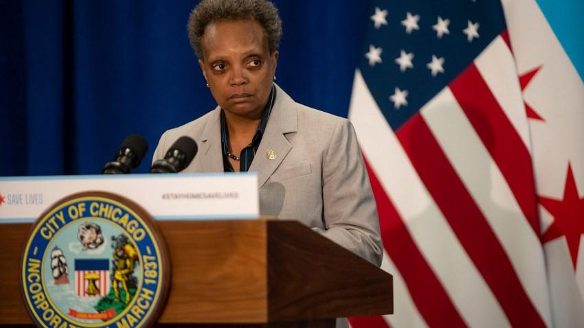 Chicago Mayor Lori Lightfoot speaks at City Hall