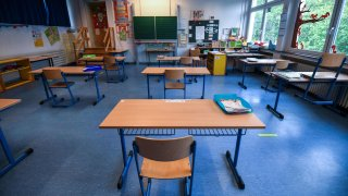 A picture taken on May 4, 2020 shows chairs and tables in a classroom at the Petri primary school, in Dortmund, western Germany, amid the new coronavirus Covid-19 pandemic.