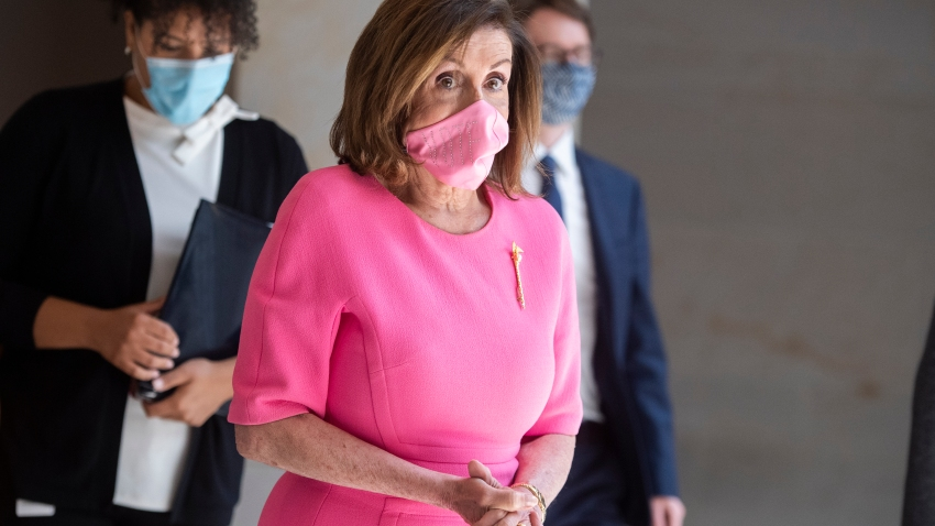 Speaker of the House Nancy Pelosi, D-Calif., leaves her news conference in the Capitol Visitor Center on Thursday, June 4, 2020.