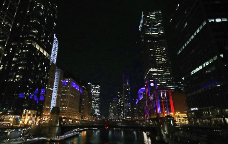 PHOTOS: Chicago Lights Up Blue in Support of Healthcare Workers, First Responders