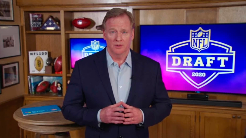 NFL Commissioner Roger Goodell speaks from his home in Bronxville, New York during the first round of the 2020 NFL Draft on April 23, 2020.