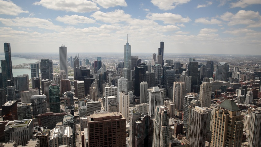 A view from the 360 Chicago observation deck