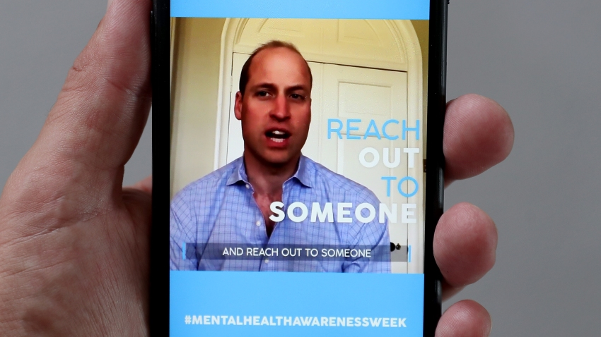 In this photo illustration - Prince William, Duke of Cambridge takes part in a Heads together Mental Health broadcast