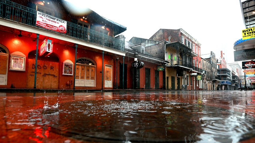 Water puddles along Bourbon St. in the French Quarter
