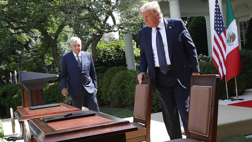 President Donald Trump and Mexican PresidentAndrés Manuel López Obrador prepare to sign a joint trade declaration in the Rose Garden at the White House July 8, 2020 in Washington, DC. Trump andLópez Obrador met privately in the Oval Office earlier in the day and are scheduled to deliver a joint press statement later in the day.