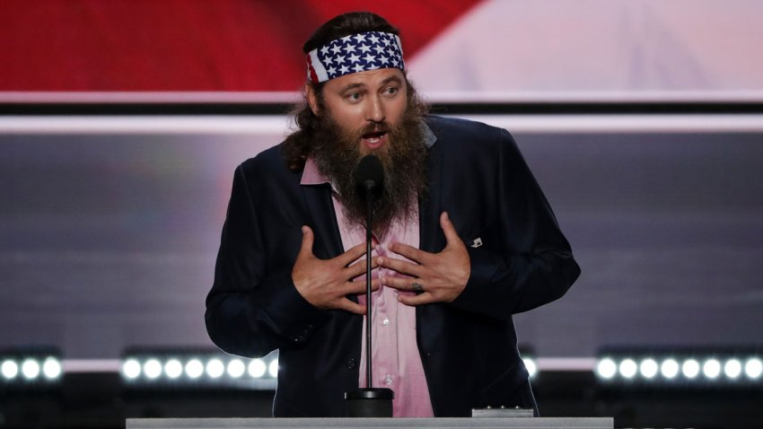 In this July 18, 2016, file photo, television personality and CEO of Duck Commander, Willie Robertson, speaks on the first day of the Republican National Convention at the Quicken Loans Arena in Cleveland, Ohio.