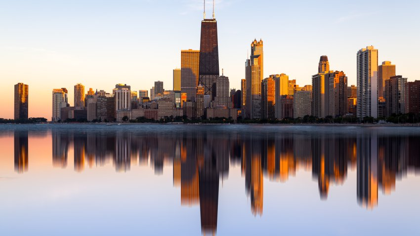 Reflected, Chicago, Skyline, Lake Michigan, Illinois, America