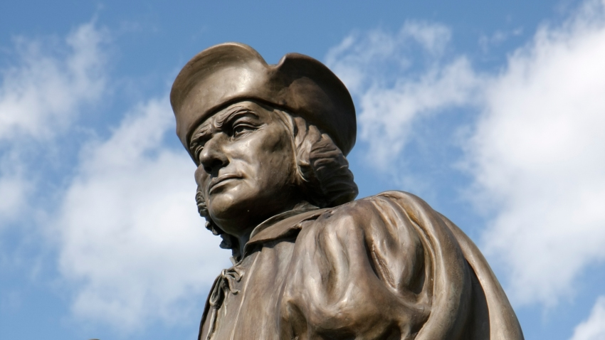 A statue of Christopher Columbus at Harbor Park