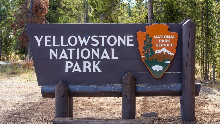 Welcome sign by West Yellowstone, USA to Yellowstone National Park north Entrance