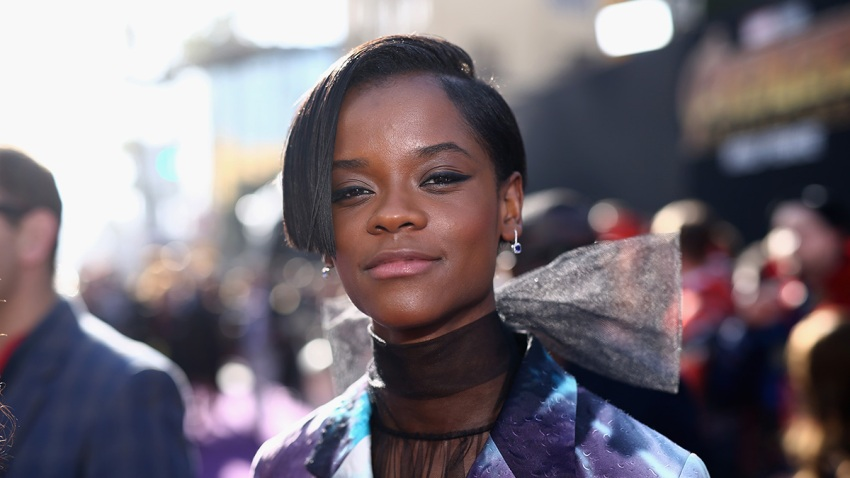 "In this April 23, 2018, file photo, actor Letitia Wright attends the Los Angeles Global Premiere for Marvel Studios ""Avengers: Infinity War"" in Hollywood, California."