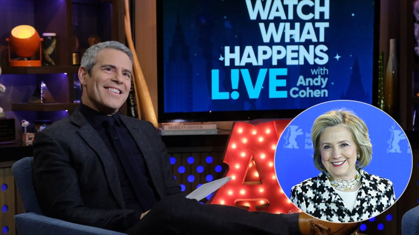 """What What Happens Live"" host Andy Cohen and former Secretary of State Hillary Clinton"