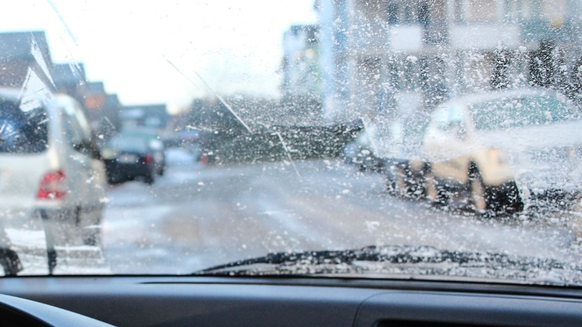 Wintry weather on a road